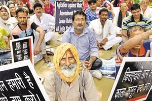 A protest against the Wakf board by tenants at Jantar Mantar in New Delhi on June 19, 2016.