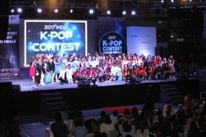 Finalists of the 2017 India K-pop Contest in Talkatora Indoor Stadium in New Delhi on July 29.