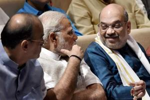 Prime Minister Narendra Modi, BJP president Amit Shah during the BJP parliamentary party meeting in New Delhi on Thursday.