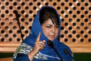 Jammu and Kashmir chief minister Mehbooba Mufti addresses a special session of the state assembly in Srinagar on Saturday.
