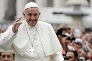 Pope Francis arrives for his weekly general audience, in St.Peter