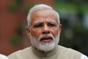 Prime Minister Narendra Modi at the Parliament House in New Delhi.