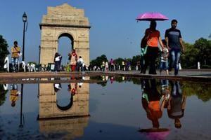 A rain-washed India Gate in New Delhi.