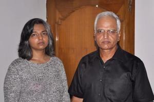 Varnika with her father Varinder Singh Kundu, Panchkula, August 7, 2017