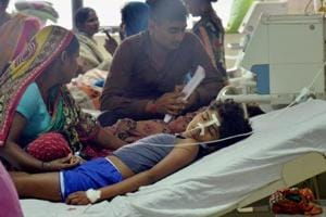 A view of a ward at the state-run Baba Raghav Das Medical College in Gorakhpur on Saturday.