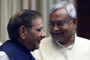 Bihar chief minister Nitish Kumar and JD(Ul) leader Sharad Yadav during happier times.