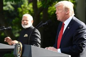 US president Donald Trump with Prime Minister Narendra Modi speak at the White House's Rose Garden during Modi's trip to Washington in June this year.