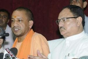 UP Chief Minister Yogi Adityanath and Union health minister JPNadda address a press conference after their visit to BRD Medical College in Gorakhpur on Sunday, August 13, 2017.