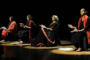 (From left) Mona Ambegaonkar, Dilnaz Irani, Dolly Thakore and Swathi Das performing 'The Vagina Monologues' at Tagore Theatre in Chandigarh on Saturday.