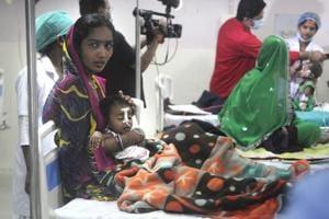 Children at the  encephalitis ward at BRD Medical College in Gorakhpur.