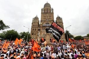 The Maratha community holding a silent protest  to demand reservation in government jobs, Mumbai, August 9.