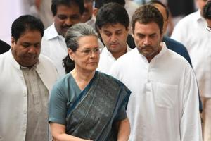 Congress president Sonia Gandhi and her son and party vice-president Rahul Gandhi (right).