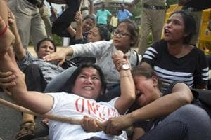 Gorkhaland activists resist detention by police during a protest near Parliament recently.