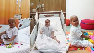 Three-year-old Aadya undergoing treatment