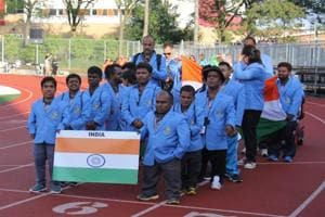 Members of the Indian contingent at the World Dwarf Games which were held in Guelph, in the Canadian province of Ontario, last week.
