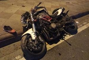 Himanshu's Benelli TNT, which was damaged in the accident.