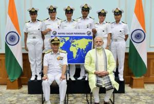 PM meets all-woman navy crew setting out August-end to sail around the...