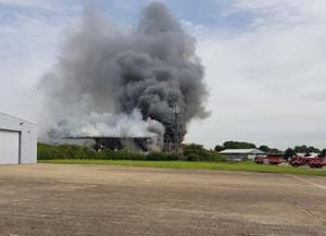 Firefighters battle blaze at London Southend Airport