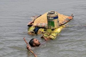 A scene from flood hit Araria district of north eastern Bihar.