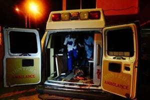 An injured victim of a female suicide bomber arrives in an ambulance for medical attention at a Maiduguri hospital in northeast Nigeria on August 15, 2017.