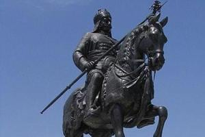 A statue of Maharana Pratap of Mewar, commemorating the Battle of Haldighati, at City Palace in Udaipur.