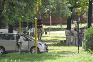 Police carrying out investigation at Children's Traffic Park in Sector 23, Chandigarh, on Tuesday.