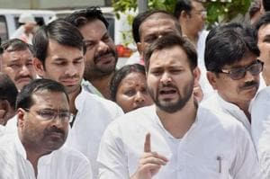 Denied nod to hold public meeting at Bhagalpur, Tejashwi sits on...