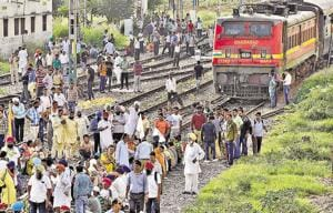 Investors and employees of the Pearl Group blocking rail traffic causing harassment to passengers near the Ludhiana railway station on Thursday