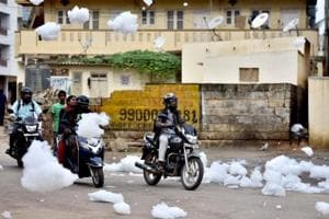 Photos: Bengaluru's Bellandur lake spills over with waves of...