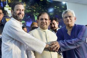 Congress Vice-President Rahul Gandhi, former PM Manmohan Singh and former JD(U) president Sharad Yadav attend a day-long convention