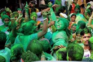 Trinamool Congress (TMC)supporters celebrate the party