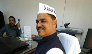 JS Tomar in his office in 2015, when he was law minister of Delhi.