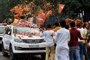 BJPsupporters welcome BJP national president Amit Shah on his arrival in Bhopal for a three-day visit to Madhya Pradesh on  Friday.