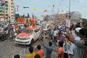 BJP national president Amit Shah being welcomed by party supporters in Bhopal  on Friday. He is on a three-day visit to Madhya Pradesh .