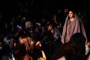 An Indian model showcase creations by designer Gaurav Jai Gupta at Lakme Fashion Week (LFW) Winter /Festive 2017 in Mumbai on August 17.