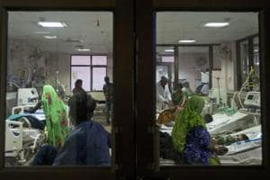 File photo of a ward at the Baba Raghav Das Medical College Hospital in Gorakhpur where more than 100 children have died in the past week.