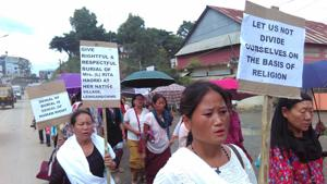 Rally demanding the burial of a 42-year-old woman in Imphal.