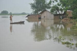 Flood in Katihar district of north eastern Bihar.