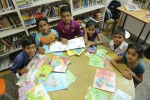 Kids spend time in the reading room of The Community Library Project, Gurgaon.