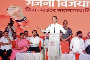 Shiv Sena chief Uddhav Thackeray at a rally on the last day of campaigning for the civic polls in Bhayander, on Thursday.