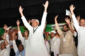 As top leaders attend JD (U)'s national meet, Nitish dares detractors...