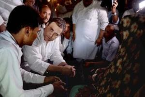 Congress vice-president Rahul Gandhi met the families of victims of the BRDhospital tragedy in villages on the outskirts of Gorakhpur city.