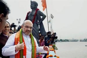 BJP national president Amit Shah in front of  Bhopal's picturesque  Upper Lake during his three-day visit to Bhopal.