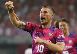 Lukas Podolski celebrates scoring a goal on July 29, 2017.