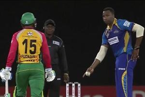Kieron Pollard stops short of doing a Mankad in CPL T20 game