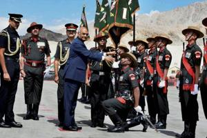 President Kovind presents 'Colour' to Ladakh Scouts, lauds its 'valour...