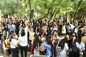 A still from the jam session at Kamala Nehru College.