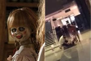 Woman punches self, screams after watching Annabelle: Creation. Watch...