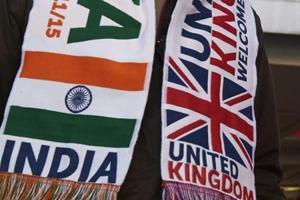 A file photo of banners with Indian and British flags at a welcome rally for Prime Minister Narendra Modi at Wembley Stadium in London on November 13, 2015. (AFP)