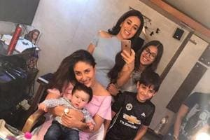Selfies with Taimur! Kareena Kapoor, Karisma's kids pose with their...